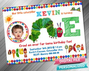 Very Hungry Caterpillar Invitation with picture
