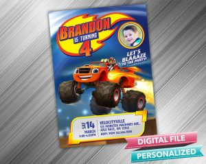 Blaze and the Monster Machines Invitation with picture