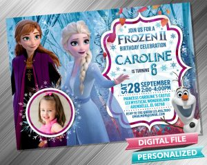 Frozen 2 Anna & Elsa Invitation with picture