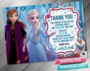 Frozen 2 Anna & Elsa Thank you card