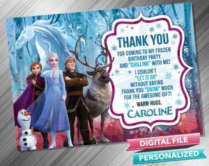 Frozen 2 Anna Elsa Kristoff Thank you card