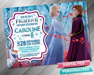 Frozen 2 Anna Elsa Birthday Invitation