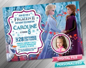 Frozen 2 Anna Elsa Birthday Invitation with picture