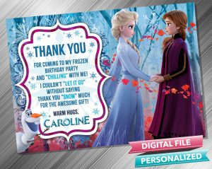 Frozen 2 Anna Elsa Birthday Thank you card