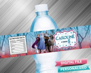 Frozen 2 Birthday Water Bottle Label
