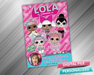 LOL Surprise Doll Invitation with picture