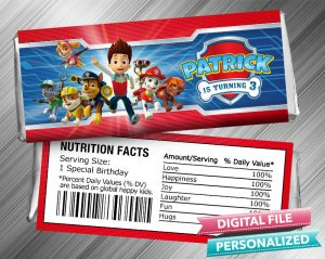 Paw Patrol Hershey Candy Bar Wrapper