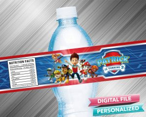 Paw Patrol Water Bottle Label