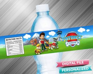 Paw Patrol Birthday Water Bottle Label
