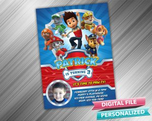 Paw Patrol Invitation with picture
