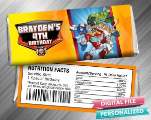 Rescue Bots Candy Bar Wrapper