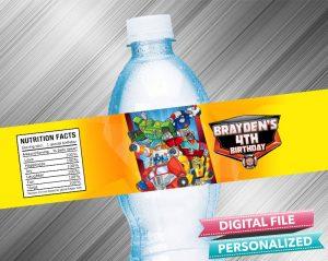 Rescue Bots Water Bottle Label