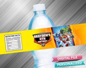 Rescue Bots Birthday Water Bottle Label
