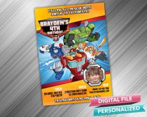 Rescue Bots Birthday Invitation with picture