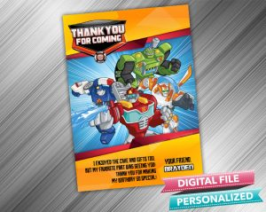Rescue Bots Birthday Thank you card