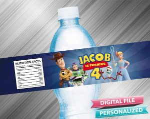 Toy Story 4 Birthday Water Bottle Label