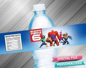 Big Hero 6 Birthday Water Bottle Label