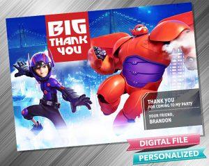 Big Hero 6 Birthday Thank you Card