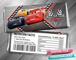 Cars 3 Hershey Candy Bar Wrapper