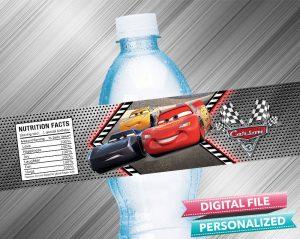 Cars 3 Water Bottle Label