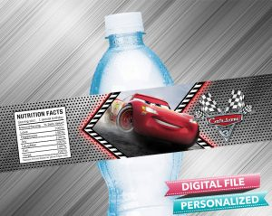 Cars 3 Birthday Water Bottle Label