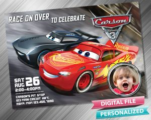 Cars 3 Invitation with picture