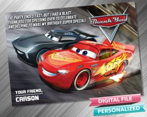 Cars 3 Thank you Card