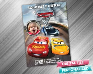 Cars 3 Birthday Invitation with picture