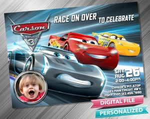 Cars 3 Lightning Mcqueen Invitation with picture
