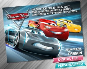 Cars 3 Lightning Mcqueen Thank you Card