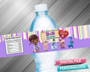 Doc McStuffins Birthday Water Bottle Label