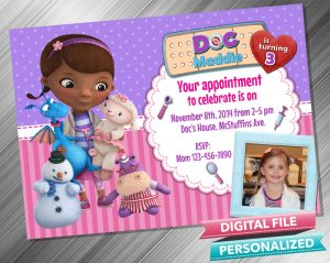 Doc McStuffins Invitation with picture
