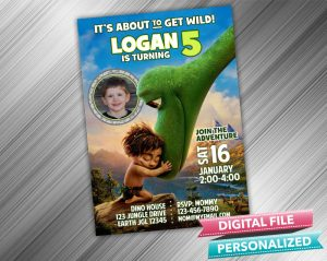 The Good Dinosaur Arlo and Spot Invitation with picture