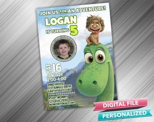 The Good Dinosaur Arlo and Spot Birthday Invitation with picture