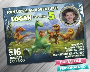 The Good Dinosaur Birthday Party Invitation with picture
