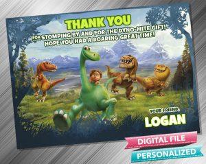 The Good Dinosaur Birthday Party Thank you Card