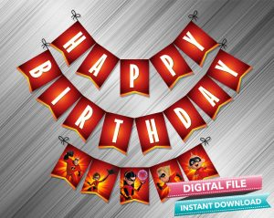 The Incredibles Birthday Banner