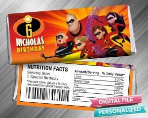 The Incredibles Hershey Candy Bar Wrapper