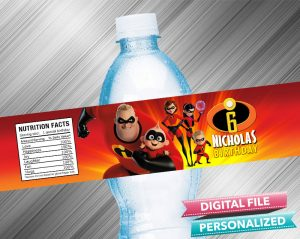 The Incredibles Water Bottle Label