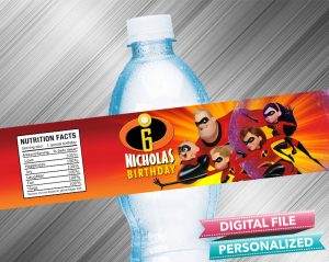 The Incredibles Birthday Water Bottle Label