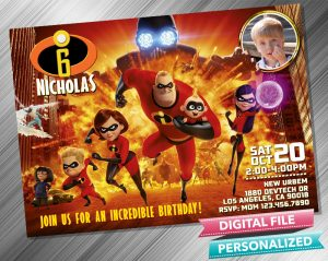 The Incredibles Invitation with picture