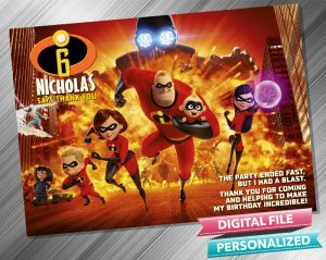 The Incredibles Thank you Card