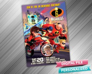 The Incredibles Birthday Invitation with picture