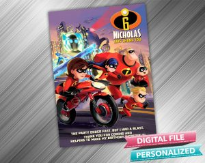 The Incredibles Birthday Thank you Card
