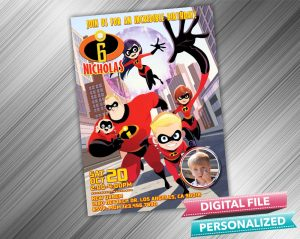 The Incredibles Birthday Party Invitation with picture