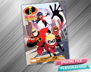 The Incredibles Birthday Party Thank you Card