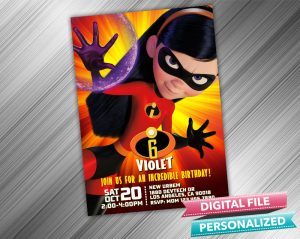 The Incredibles Violet Invitation