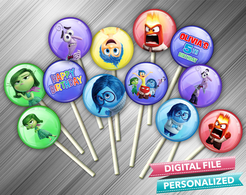 It is a picture of Influential Inside Out Cupcake Toppers