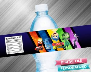 Inside Out Birthday Water Bottle Label