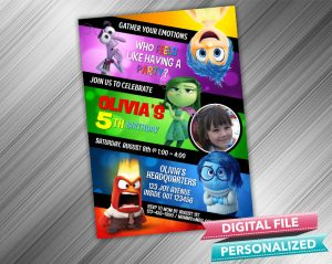 Inside Out Birthday Invitation with picture